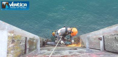 Travaux de renforcement de quai en zone portuaire